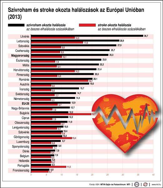 Szívroham és stroke okozta halálozások az Európai Unióban (2013)